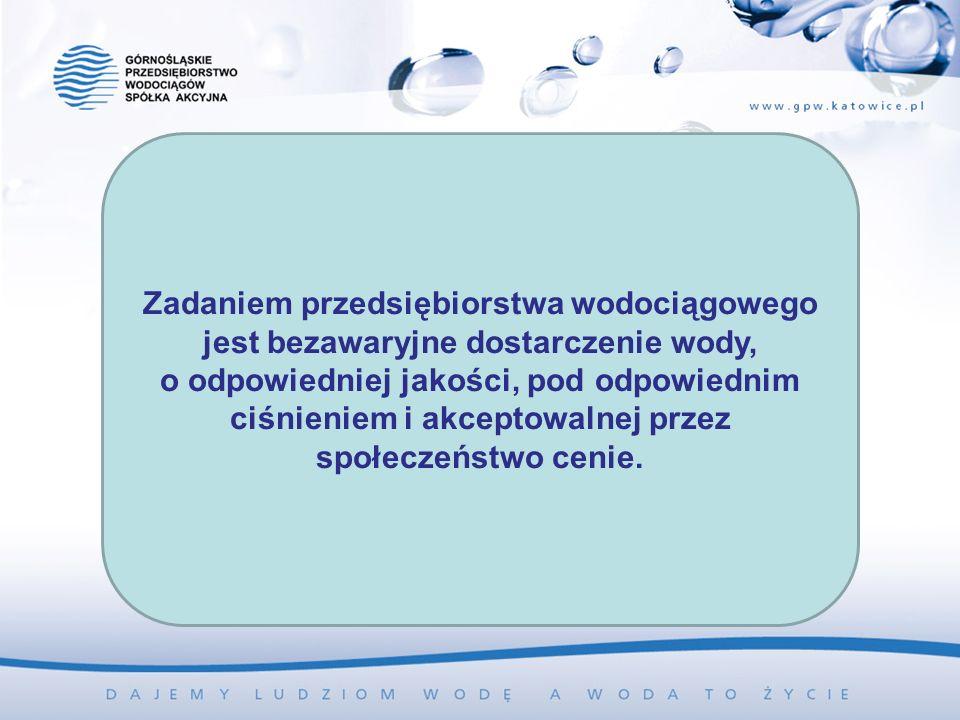 Zadaniem przedsiębiorstwa wodociągowego jest bezawaryjne dostarczenie wody, o odpowiedniej jakości, pod odpowiednim ciśnieniem i akceptowalnej przez społeczeństwo cenie.