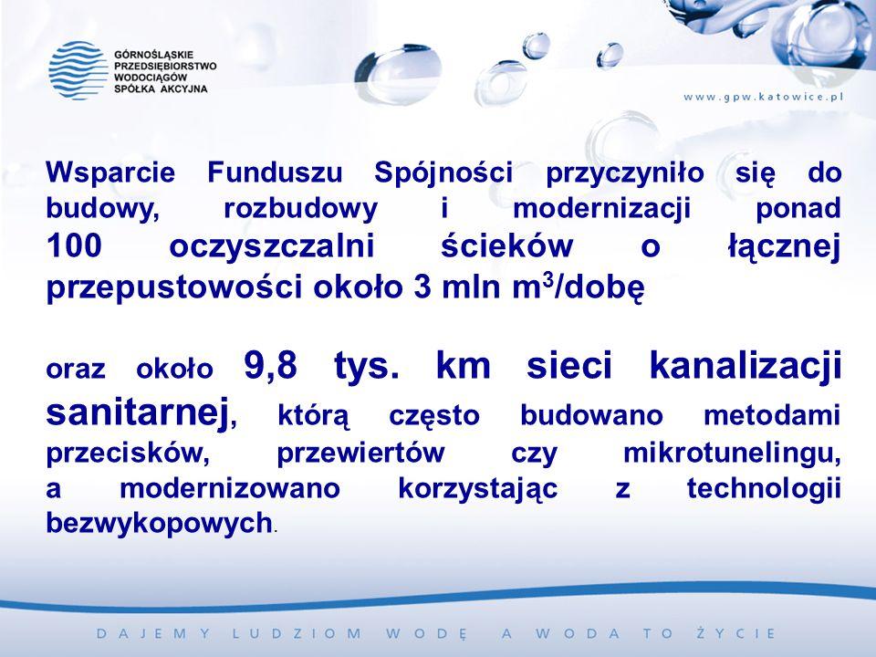 Wsparcie Funduszu Spójności przyczyniło się do budowy, rozbudowy i modernizacji ponad 100 oczyszczalni ścieków o łącznej przepustowości około 3 mln m