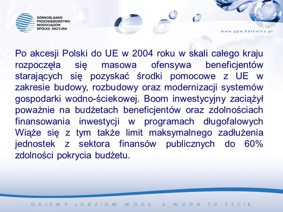 Po akcesji Polski do UE w 2004 roku w skali całego kraju rozpoczęła się masowa ofensywa beneficjentów starających się pozyskać środki pomocowe z UE w zakresie budowy, rozbudowy oraz modernizacji systemów gospodarki wodno-ściekowej.