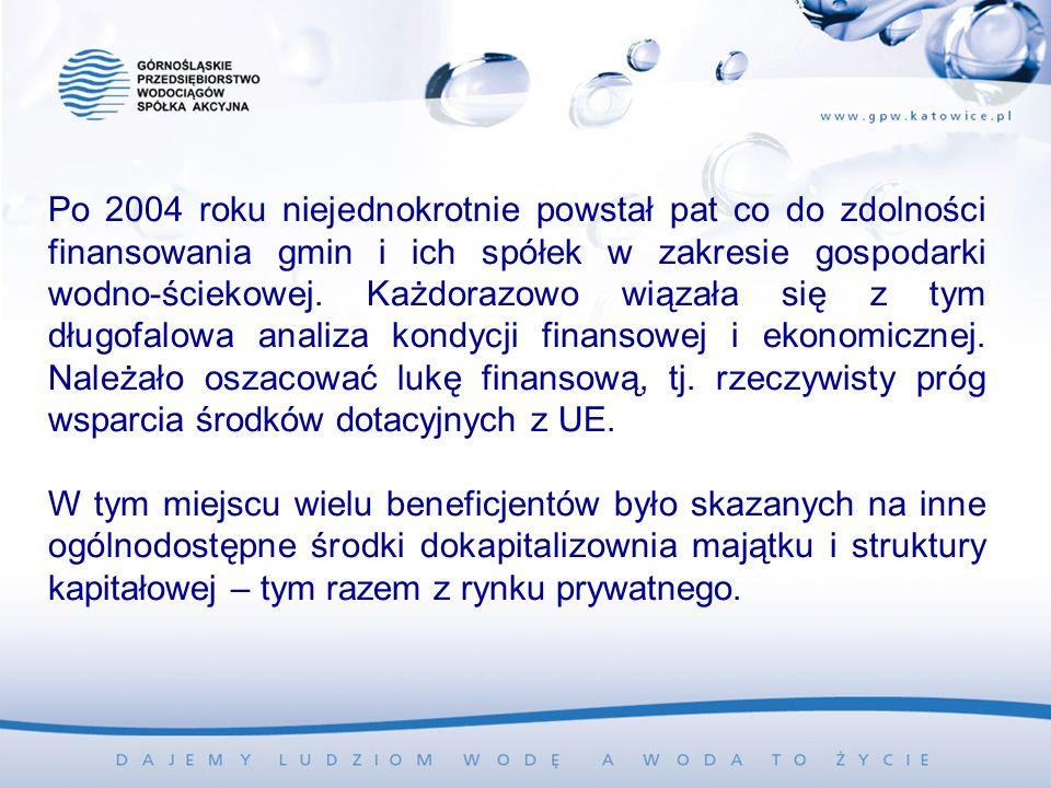 Po 2004 roku niejednokrotnie powstał pat co do zdolności finansowania gmin i ich spółek w zakresie gospodarki wodno-ściekowej. Każdorazowo wiązała się