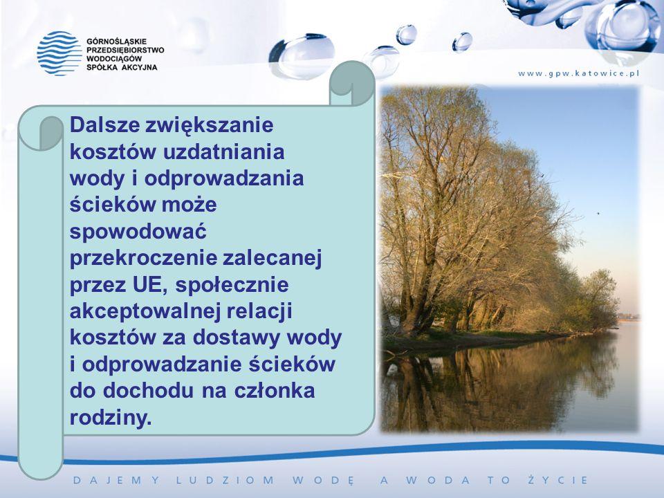 Dalsze zwiększanie kosztów uzdatniania wody i odprowadzania ścieków może spowodować przekroczenie zalecanej przez UE, społecznie akceptowalnej relacji