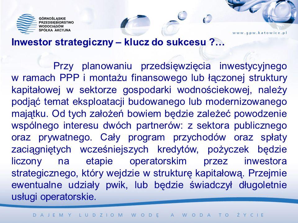 Inwestor strategiczny – klucz do sukcesu … Przy planowaniu przedsięwzięcia inwestycyjnego w ramach PPP i montażu finansowego lub łączonej struktury kapitałowej w sektorze gospodarki wodnościekowej, należy podjąć temat eksploatacji budowanego lub modernizowanego majątku.