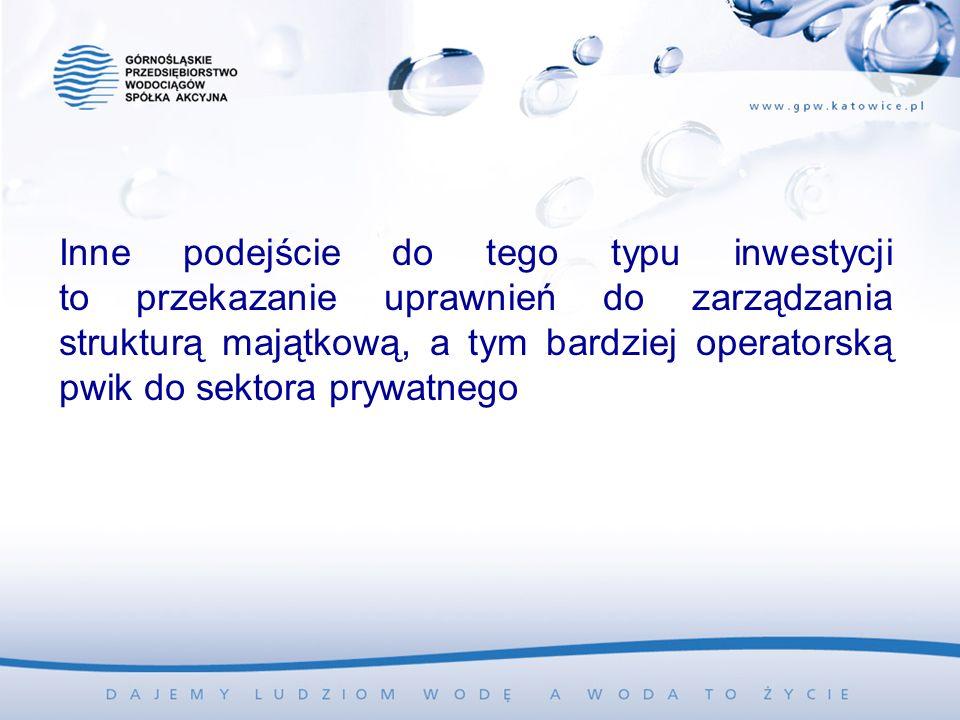 Inne podejście do tego typu inwestycji to przekazanie uprawnień do zarządzania strukturą majątkową, a tym bardziej operatorską pwik do sektora prywatnego