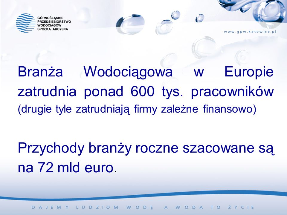Branża Wodociągowa w Europie zatrudnia ponad 600 tys. pracowników (drugie tyle zatrudniają firmy zależne finansowo) Przychody branży roczne szacowane