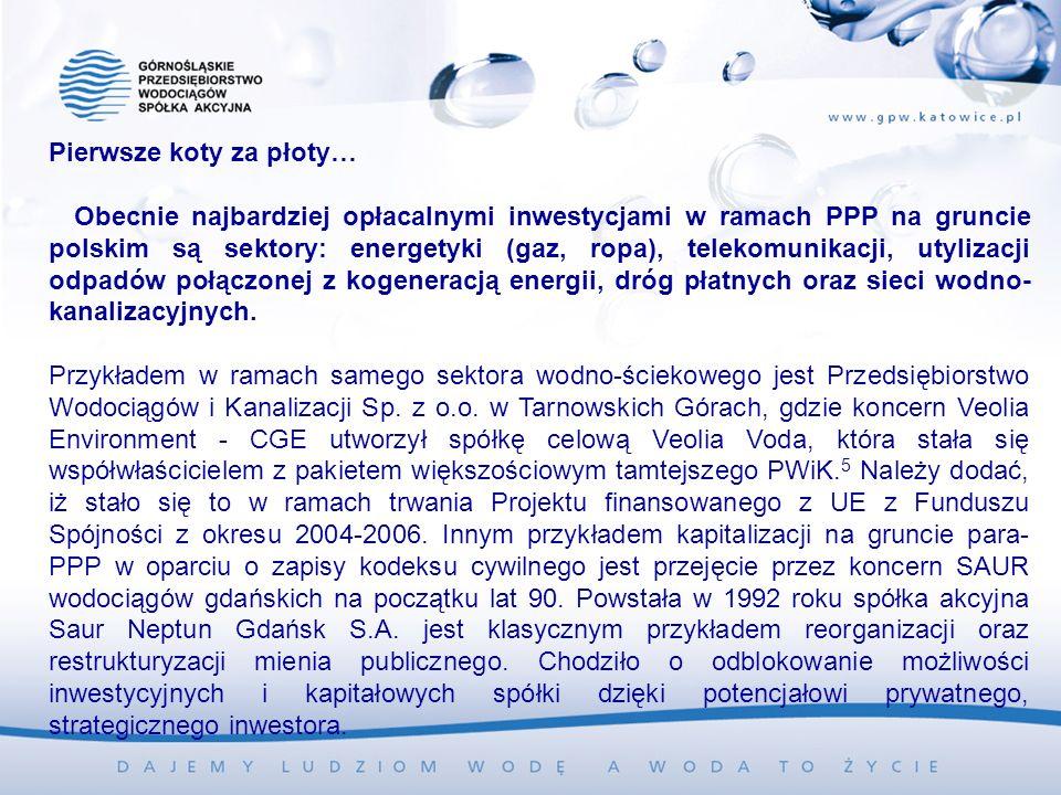 Pierwsze koty za płoty… Obecnie najbardziej opłacalnymi inwestycjami w ramach PPP na gruncie polskim są sektory: energetyki (gaz, ropa), telekomunikacji, utylizacji odpadów połączonej z kogeneracją energii, dróg płatnych oraz sieci wodno- kanalizacyjnych.