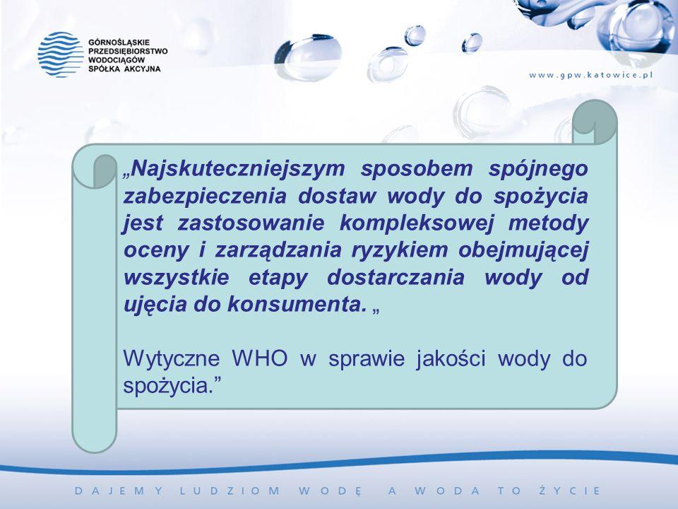 Najskuteczniejszym sposobem spójnego zabezpieczenia dostaw wody do spożycia jest zastosowanie kompleksowej metody oceny i zarządzania ryzykiem obejmującej wszystkie etapy dostarczania wody od ujęcia do konsumenta.