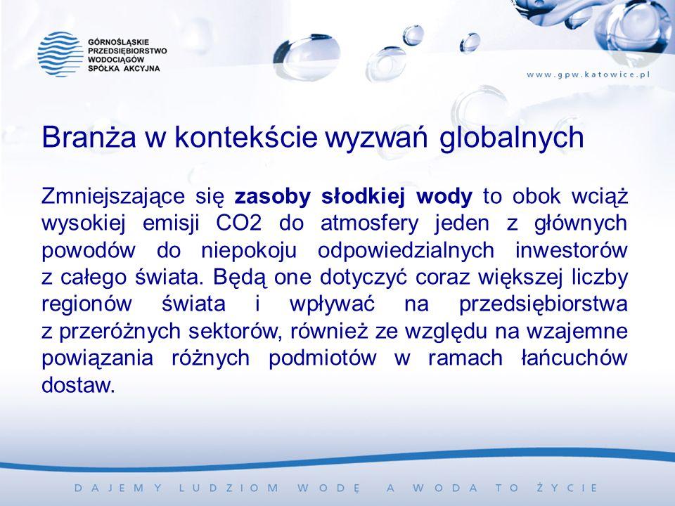 Branża w kontekście wyzwań globalnych Zmniejszające się zasoby słodkiej wody to obok wciąż wysokiej emisji CO2 do atmosfery jeden z głównych powodów do niepokoju odpowiedzialnych inwestorów z całego świata.