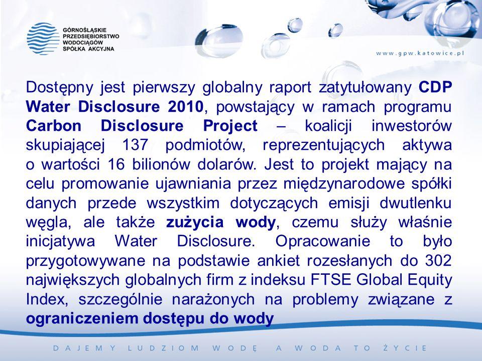 Dostępny jest pierwszy globalny raport zatytułowany CDP Water Disclosure 2010, powstający w ramach programu Carbon Disclosure Project – koalicji inwestorów skupiającej 137 podmiotów, reprezentujących aktywa o wartości 16 bilionów dolarów.