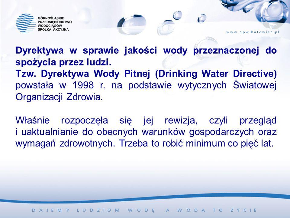 Dyrektywa w sprawie jakości wody przeznaczonej do spożycia przez ludzi. Tzw. Dyrektywa Wody Pitnej (Drinking Water Directive) powstała w 1998 r. na po