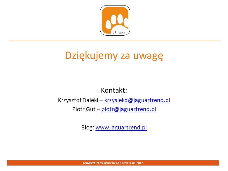 Strona 9 Copyright © by JaguarTrend Forex Team 2012 Dziękujemy za uwagę Kontakt: Krzysztof Daleki – krzysiekd@jaguartrend.plkrzysiekd@jaguartrend.pl P