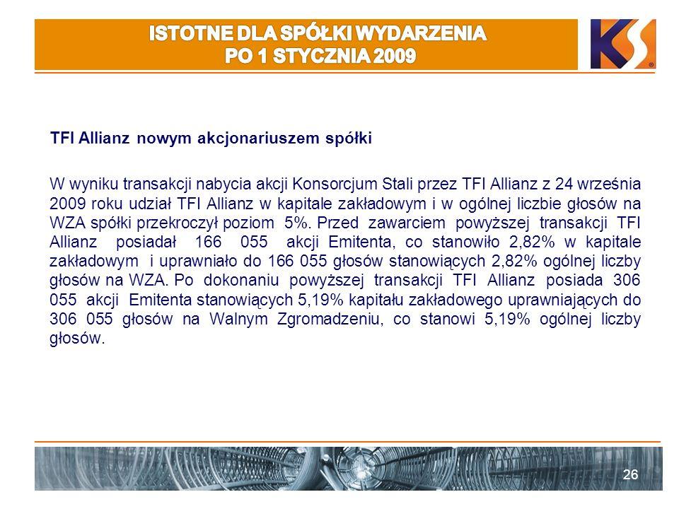 TFI Allianz nowym akcjonariuszem spółki W wyniku transakcji nabycia akcji Konsorcjum Stali przez TFI Allianz z 24 września 2009 roku udział TFI Allianz w kapitale zakładowym i w ogólnej liczbie głosów na WZA spółki przekroczył poziom 5%.