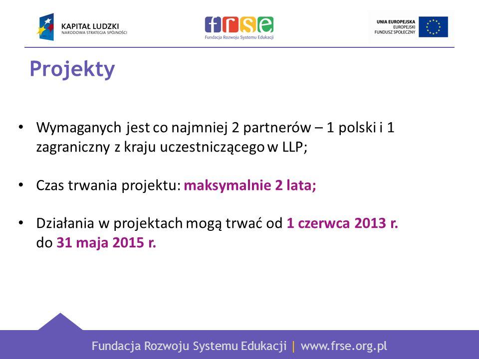 Fundacja Rozwoju Systemu Edukacji | www.frse.org.pl Projekty Wymaganych jest co najmniej 2 partnerów – 1 polski i 1 zagraniczny z kraju uczestnicząceg