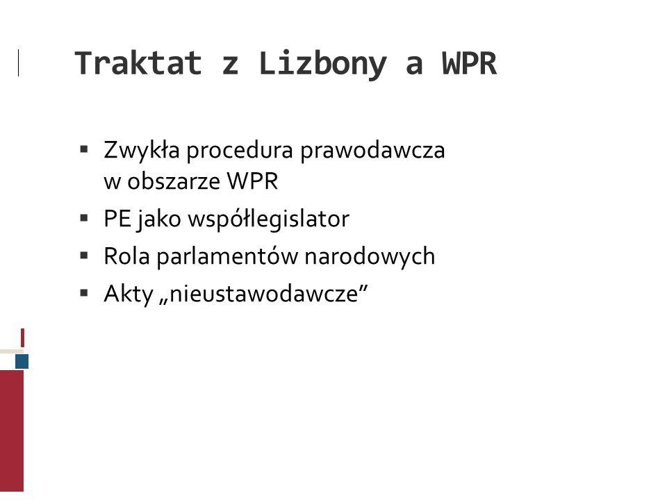 Traktat z Lizbony a WPR Zwykła procedura prawodawcza w obszarze WPR PE jako współlegislator Rola parlamentów narodowych Akty nieustawodawcze