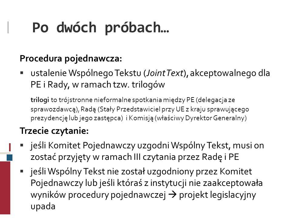 Po dwóch próbach… Procedura pojednawcza: ustalenie Wspólnego Tekstu (Joint Text), akceptowalnego dla PE i Rady, w ramach tzw. trilogów trilogi to trój