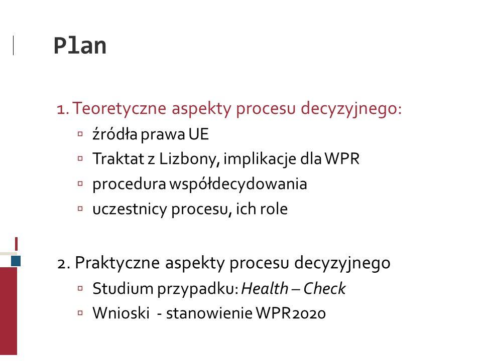 Plan 1. Teoretyczne aspekty procesu decyzyjnego: źródła prawa UE Traktat z Lizbony, implikacje dla WPR procedura współdecydowania uczestnicy procesu,