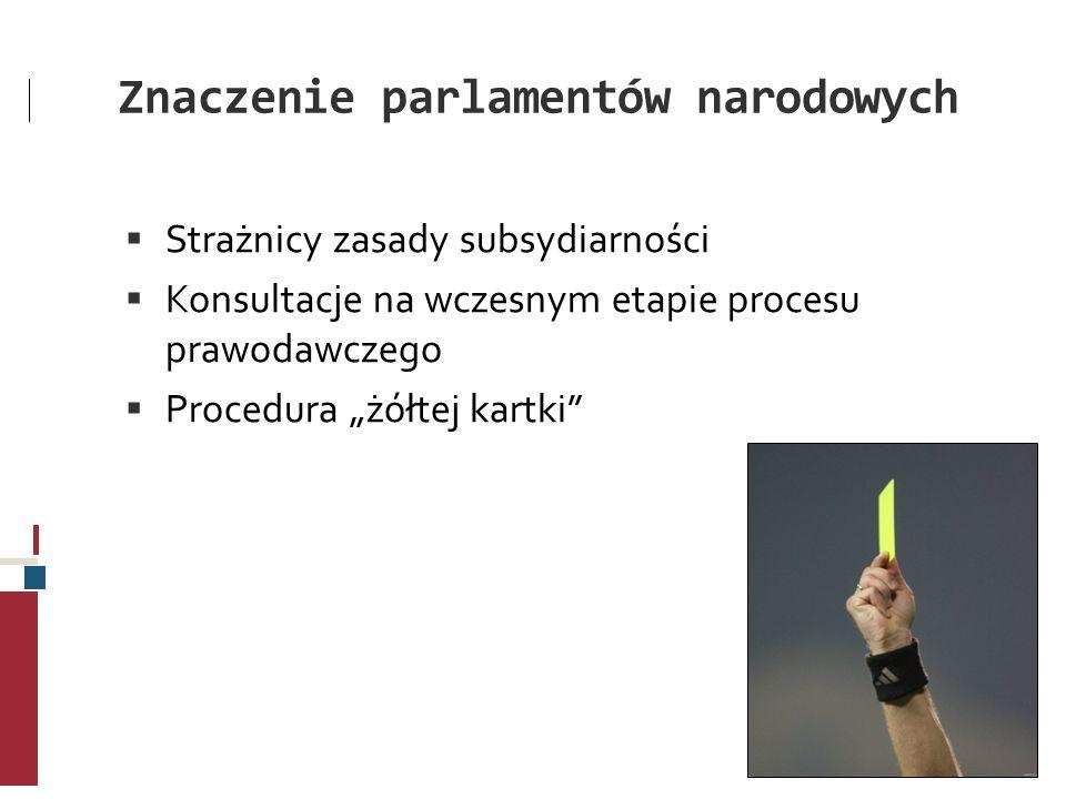 Znaczenie parlamentów narodowych Strażnicy zasady subsydiarności Konsultacje na wczesnym etapie procesu prawodawczego Procedura żółtej kartki