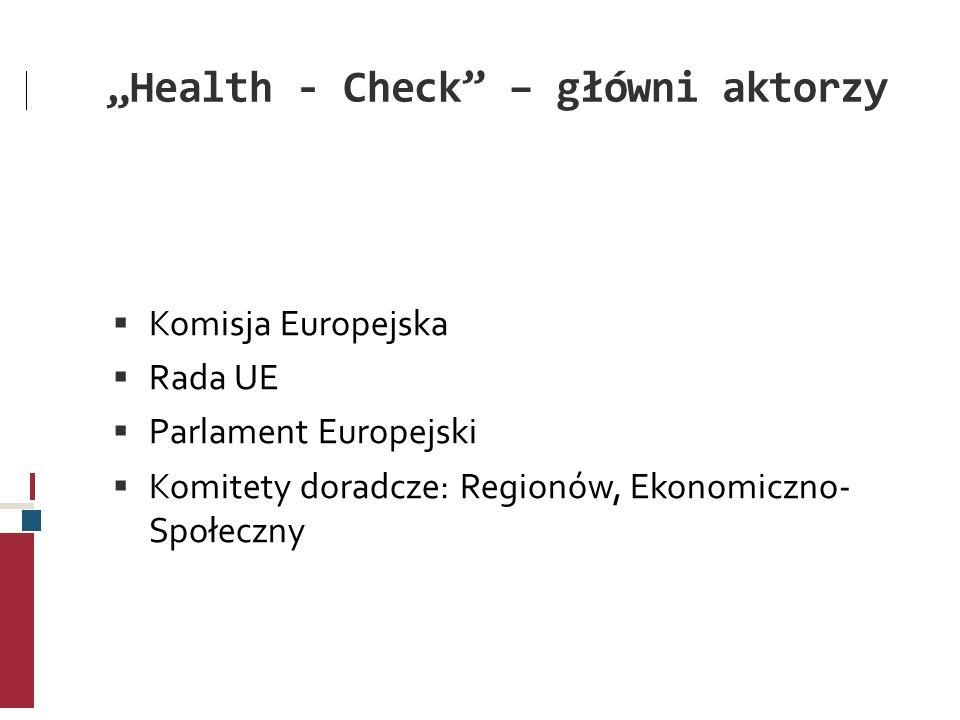 Health - Check – główni aktorzy Komisja Europejska Rada UE Parlament Europejski Komitety doradcze: Regionów, Ekonomiczno- Społeczny