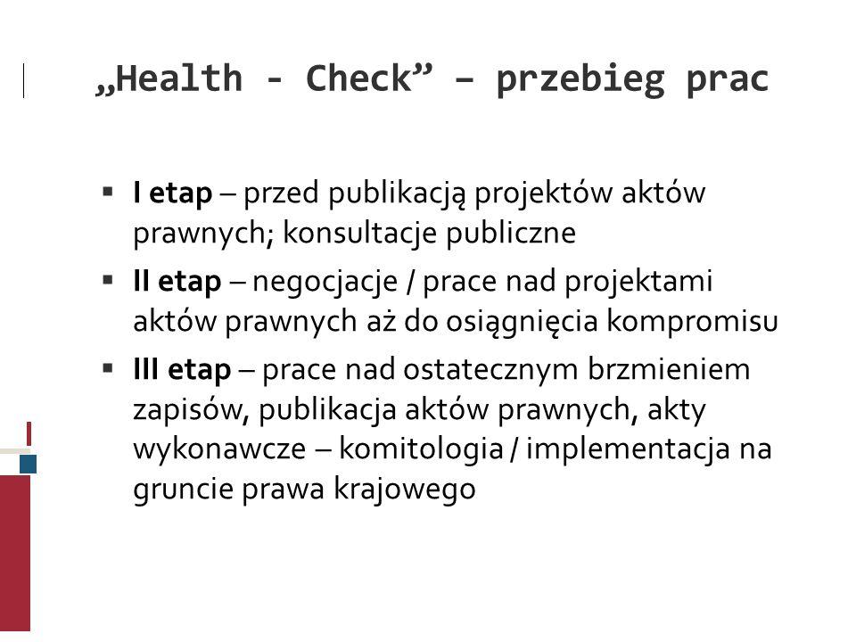 Health - Check – przebieg prac I etap – przed publikacją projektów aktów prawnych; konsultacje publiczne II etap – negocjacje / prace nad projektami a