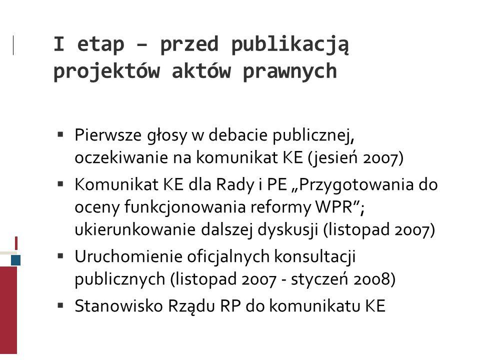 I etap – przed publikacją projektów aktów prawnych Pierwsze głosy w debacie publicznej, oczekiwanie na komunikat KE (jesień 2007) Komunikat KE dla Rad