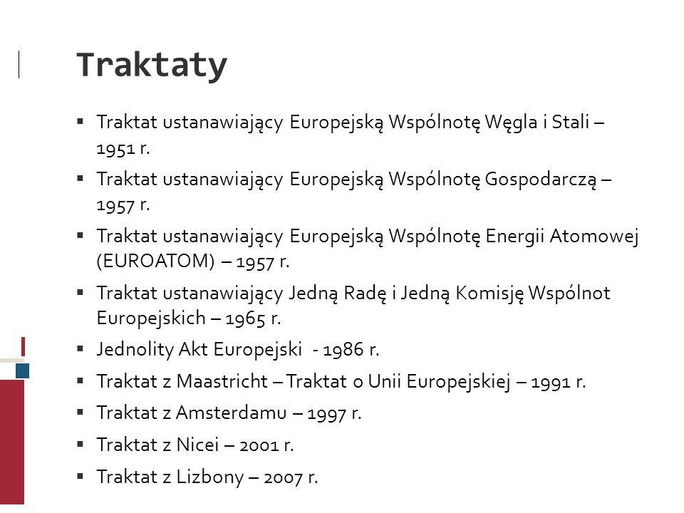Traktaty Traktat ustanawiający Europejską Wspólnotę Węgla i Stali – 1951 r. Traktat ustanawiający Europejską Wspólnotę Gospodarczą – 1957 r. Traktat u