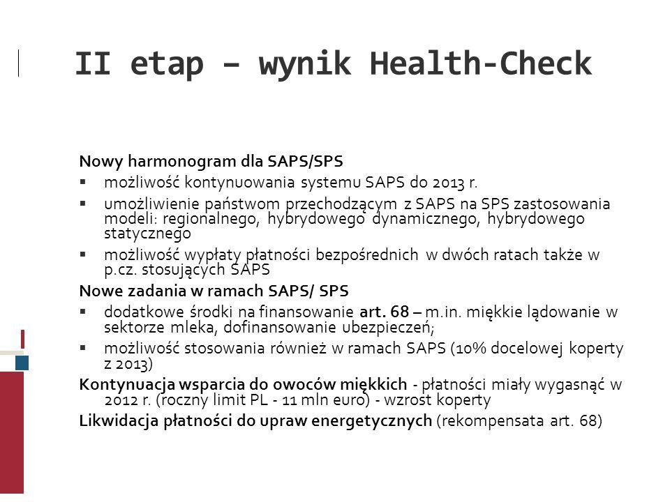 II etap – wynik Health-Check Nowy harmonogram dla SAPS/SPS możliwość kontynuowania systemu SAPS do 2013 r. umożliwienie państwom przechodzącym z SAPS