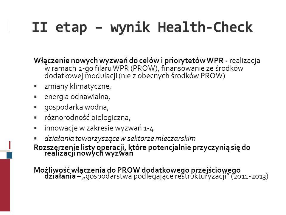 II etap – wynik Health-Check Włączenie nowych wyzwań do celów i priorytetów WPR - realizacja w ramach 2-go filaru WPR (PROW), finansowanie ze środków