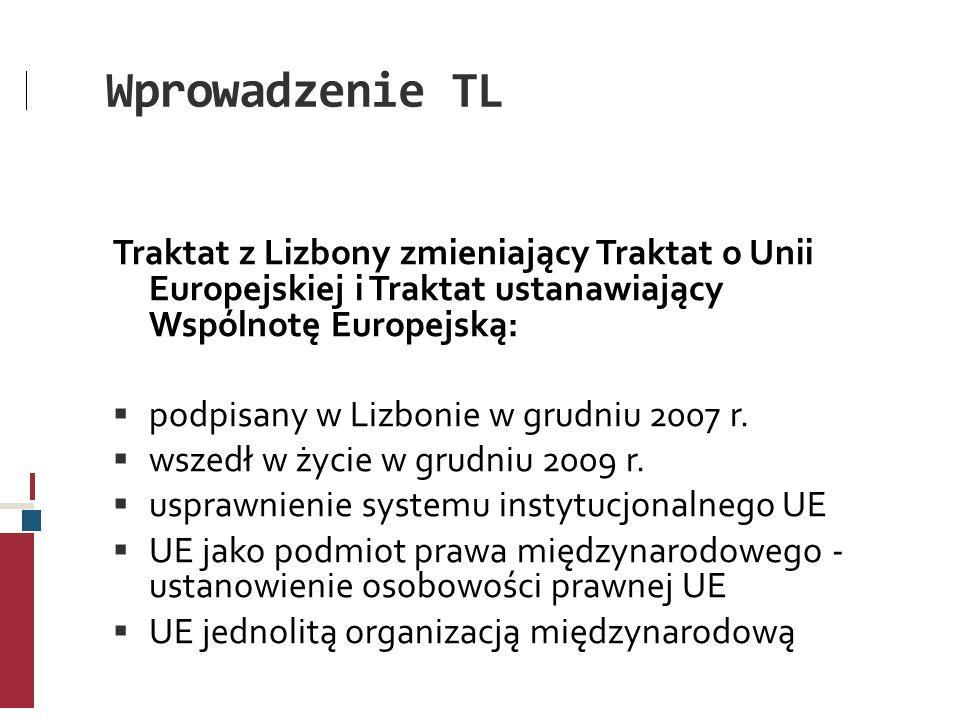 Wprowadzenie TL Traktat z Lizbony zmieniający Traktat o Unii Europejskiej i Traktat ustanawiający Wspólnotę Europejską: podpisany w Lizbonie w grudniu