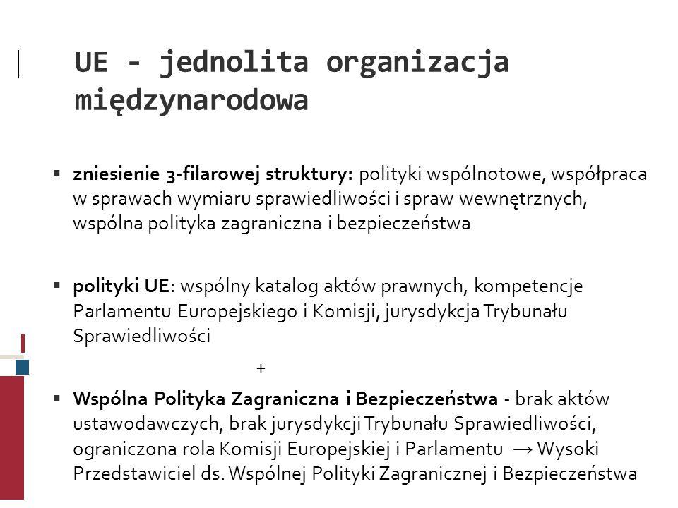 UE - jednolita organizacja międzynarodowa zniesienie 3-filarowej struktury: polityki wspólnotowe, współpraca w sprawach wymiaru sprawiedliwości i spra