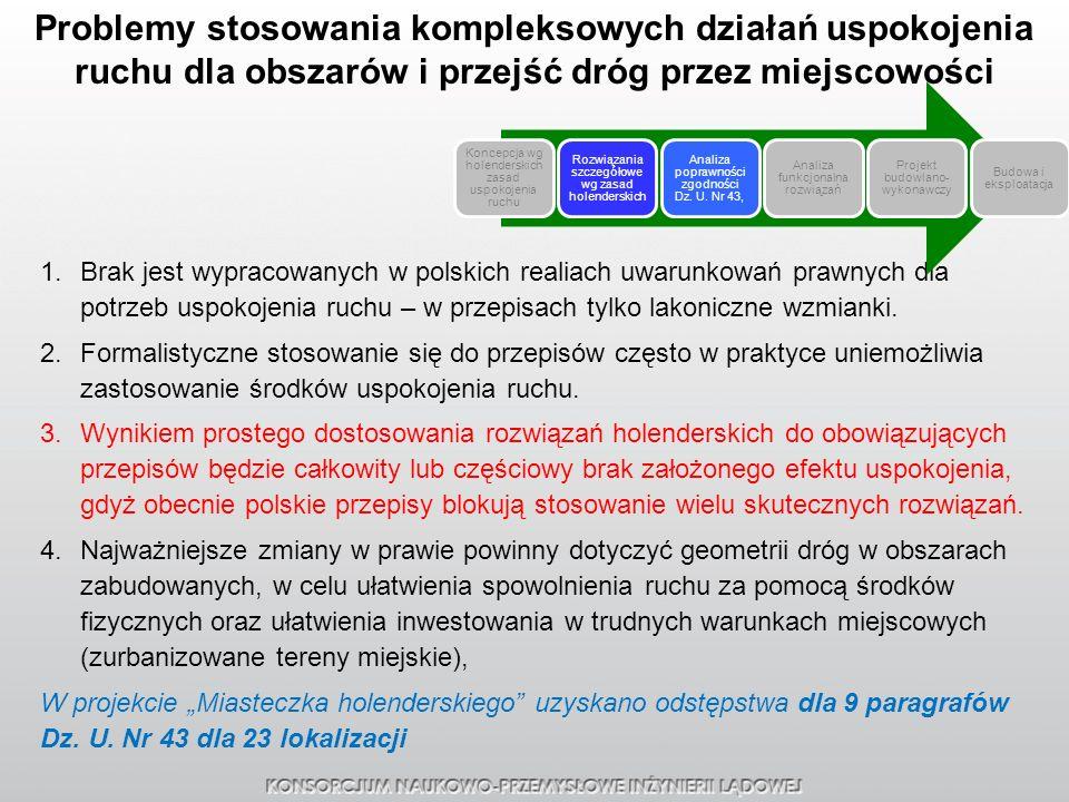 Problemy stosowania kompleksowych działań uspokojenia ruchu dla obszarów i przejść dróg przez miejscowości 1.Brak jest wypracowanych w polskich realia