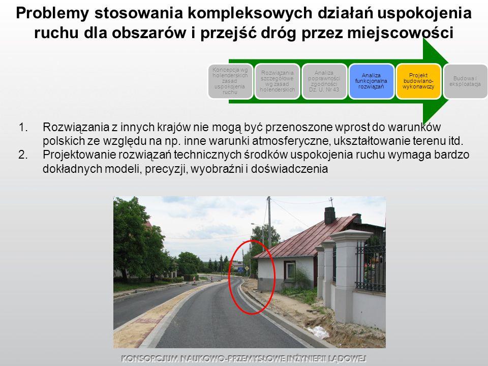 Problemy stosowania kompleksowych działań uspokojenia ruchu dla obszarów i przejść dróg przez miejscowości 1.Rozwiązania z innych krajów nie mogą być