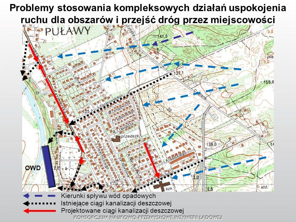 Problemy stosowania kompleksowych działań uspokojenia ruchu dla obszarów i przejść dróg przez miejscowości Kierunki spływu wód opadowych OWD Istniejąc