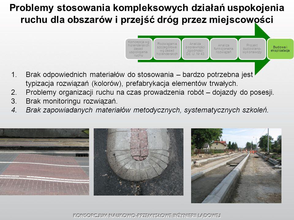Problemy stosowania kompleksowych działań uspokojenia ruchu dla obszarów i przejść dróg przez miejscowości 1.Brak odpowiednich materiałów do stosowani