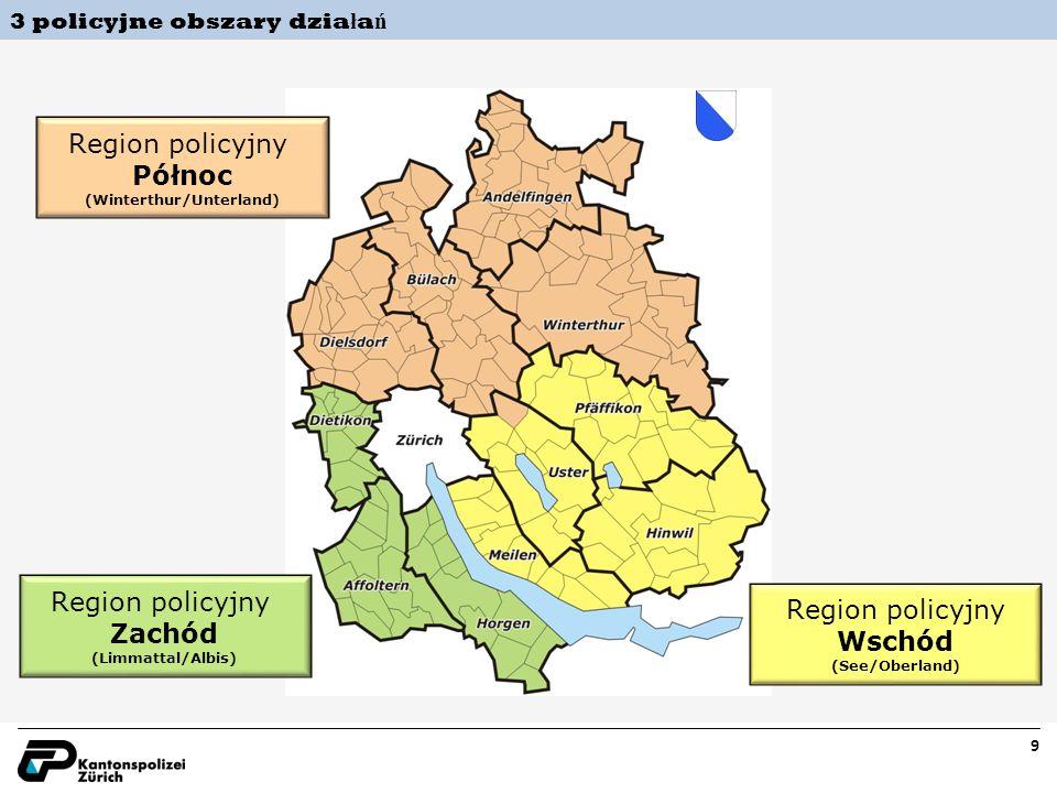 9 Region policyjny Wschód (See/Oberland) Region policyjny Zachód (Limmattal/Albis) Region policyjny Północ (Winterthur/Unterland) 3 policyjne obszary dzia ł a ń