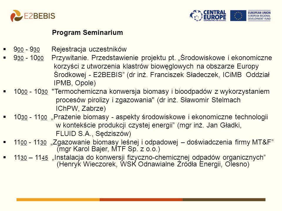 Program Seminarium 9 00 - 9 30 Rejestracja uczestników 9 30 - 10 00 Przywitanie. Przedstawienie projektu pt. Środowiskowe i ekonomiczne korzyści z utw