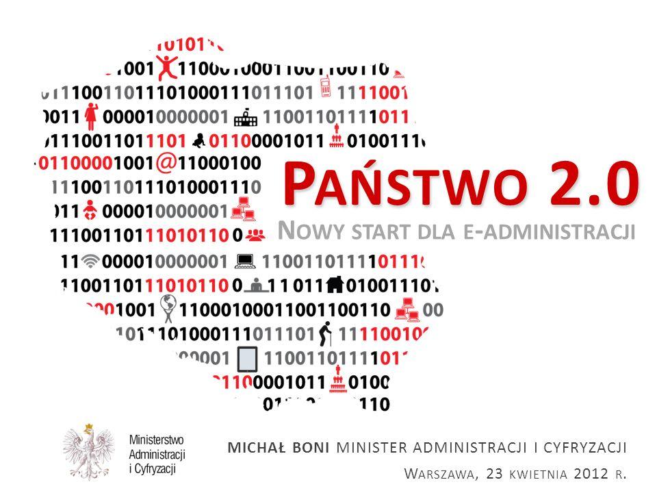 23.04.2012 Państwo 2.0   Nowy start dla e-administracji 22 Inspiracja: e-Government w Estonii PROJEKT X-ROAD Zainicjowany w latach 90-tych projekt X-ROAD mający na celu stworzenie bezpiecznego, zestandaryzowanego otoczenia sieciowego dla połączonych i komunikujących się systemów informatycznych administracji.