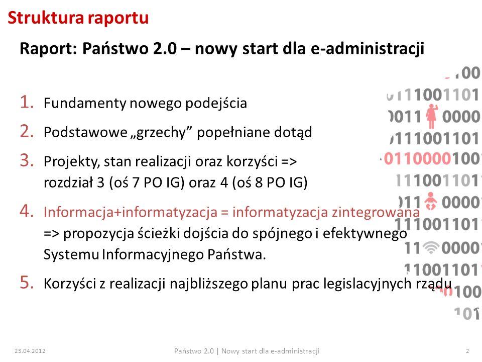 23.04.2012 Państwo 2.0   Nowy start dla e-administracji 33 Kontekst europejski – działania KE 1.2/2012 – decyzja Komisji Europejskiej (KE) o wstrzymaniu certyfikacji wszystkich projektów finansowanych ze środków UE z 12/2011 2.4/2012 – decyzja KE przywracająca możliwość certyfikacji projektów UE, zarazem wstrzymująca płatność 7 osi PO IG oraz 4.5 PO IG (Min.