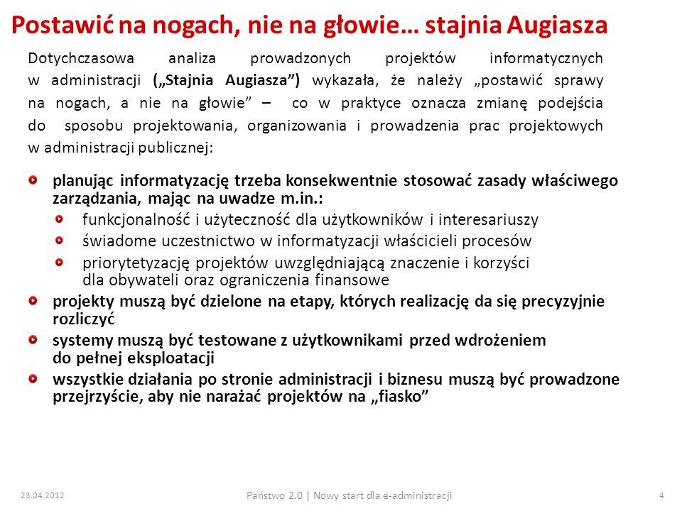 23.04.2012 Państwo 2.0   Nowy start dla e-administracji 15 Przegląd projektów 7 osi PO IG 3.