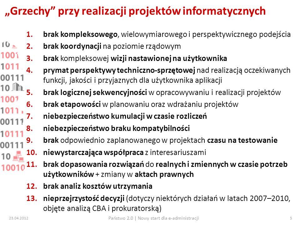 23.04.2012 Państwo 2.0   Nowy start dla e-administracji 16 Przegląd projektów 7 osi PO IG 5.