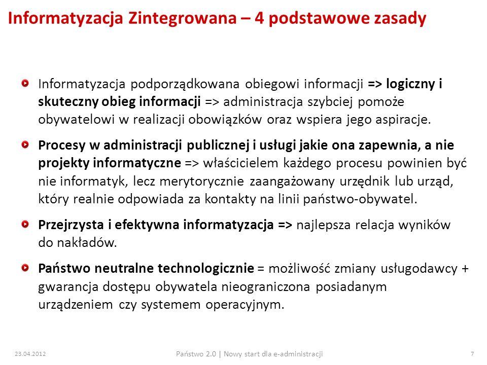 23.04.2012 Państwo 2.0   Nowy start dla e-administracji 28 Przegląd projektów 8 osi PO IG Działania 8.1, 8.2, 8.3 Działanie 8.1 wspieranie gospodarki elektronicznej małe zainteresowanie przedsiębiorców przy dużym budżecie ok.