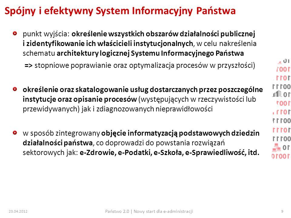 23.04.2012 Państwo 2.0   Nowy start dla e-administracji 20 Projekt pl.ID – co nam da wprowadzenie zmian.