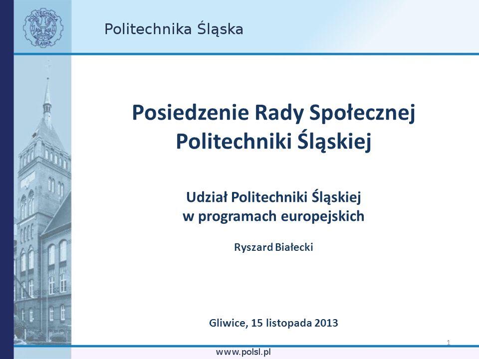 1 Posiedzenie Rady Społecznej Politechniki Śląskiej Udział Politechniki Śląskiej w programach europejskich Ryszard Białecki Gliwice, 15 listopada 2013