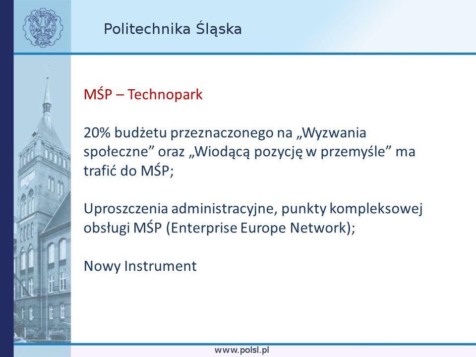 MŚP – Technopark 20% budżetu przeznaczonego na Wyzwania społeczne oraz Wiodącą pozycję w przemyśle ma trafić do MŚP; Uproszczenia administracyjne, pun