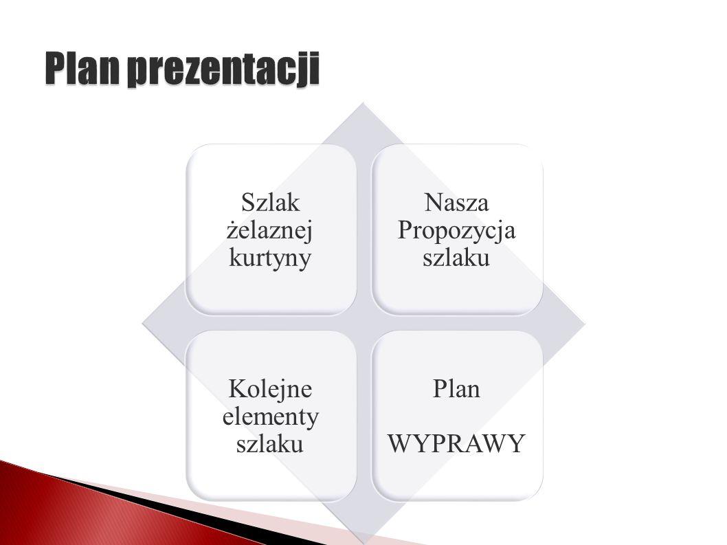 Szlak żelaznej kurtyny Nasza Propozycja szlaku Kolejne elementy szlaku Plan WYPRAWY