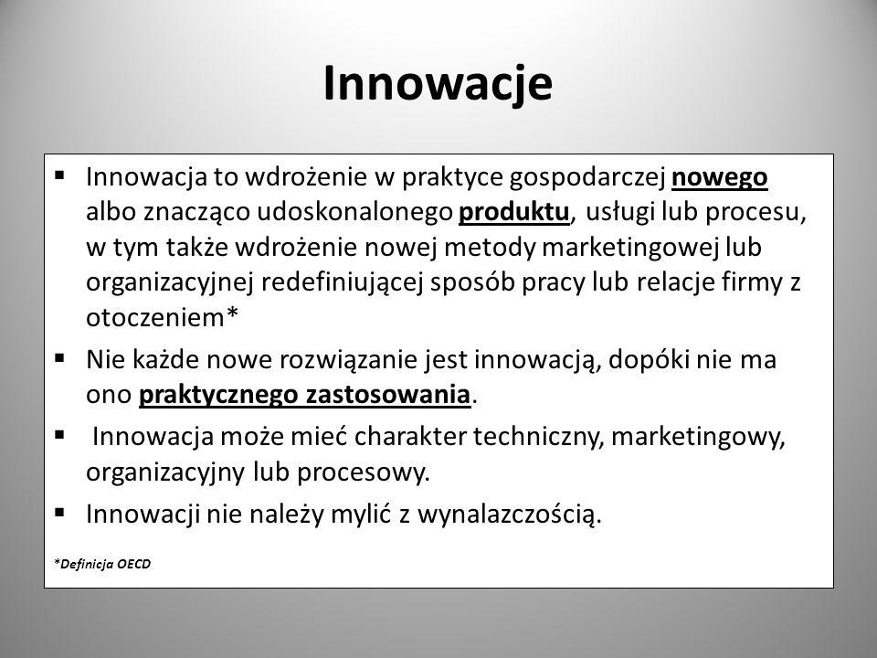 Innowacje Innowacja to wdrożenie w praktyce gospodarczej nowego albo znacząco udoskonalonego produktu, usługi lub procesu, w tym także wdrożenie nowej