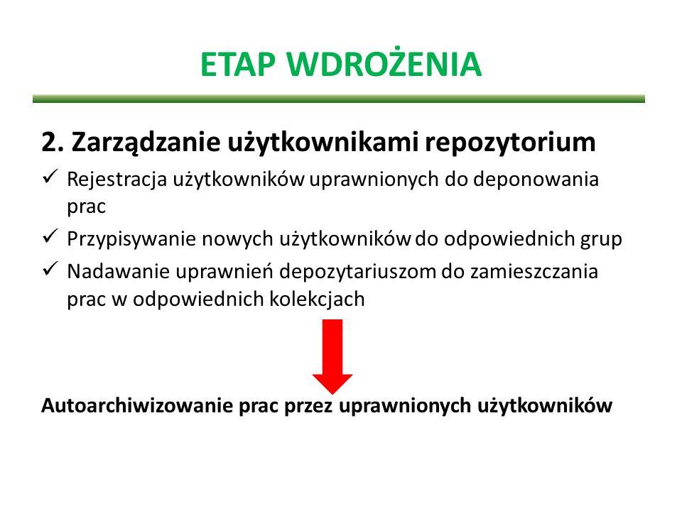 ETAP WDROŻENIA 2. Zarządzanie użytkownikami repozytorium Rejestracja użytkowników uprawnionych do deponowania prac Przypisywanie nowych użytkowników d