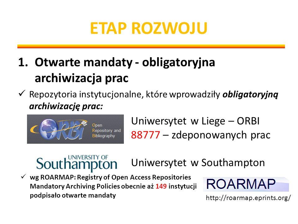 ETAP ROZWOJU 1.Otwarte mandaty - obligatoryjna archiwizacja prac Repozytoria instytucjonalne, które wprowadziły obligatoryjną archiwizację prac: Uniwersytet w Liege – ORBI 88777 – zdeponowanych prac Uniwersytet w Southampton http://roarmap.eprints.org/ wg ROARMAP: Registry of Open Access Repositories Mandatory Archiving Policies obecnie aż 149 instytucji podpisało otwarte mandaty
