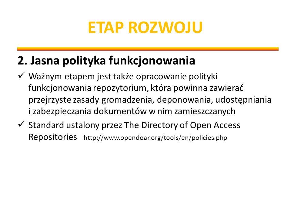 ETAP ROZWOJU 2. Jasna polityka funkcjonowania Ważnym etapem jest także opracowanie polityki funkcjonowania repozytorium, która powinna zawierać przejr