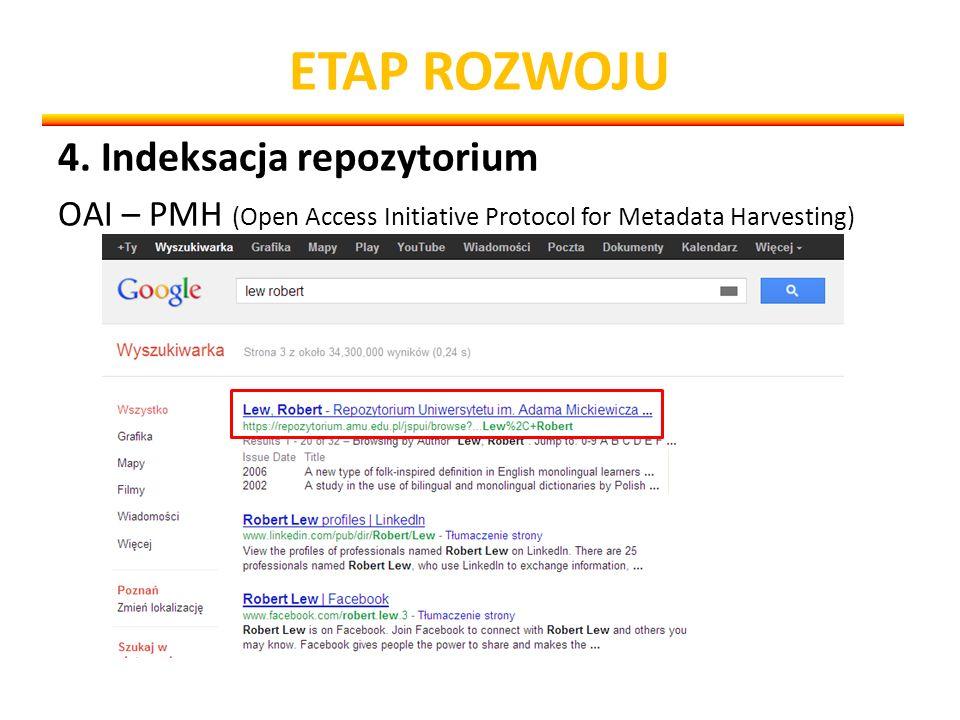 ETAP ROZWOJU 4. Indeksacja repozytorium OAI – PMH (Open Access Initiative Protocol for Metadata Harvesting)