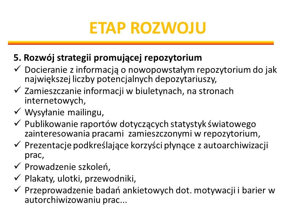 ETAP ROZWOJU 5. Rozwój strategii promującej repozytorium Docieranie z informacją o nowopowstałym repozytorium do jak największej liczby potencjalnych