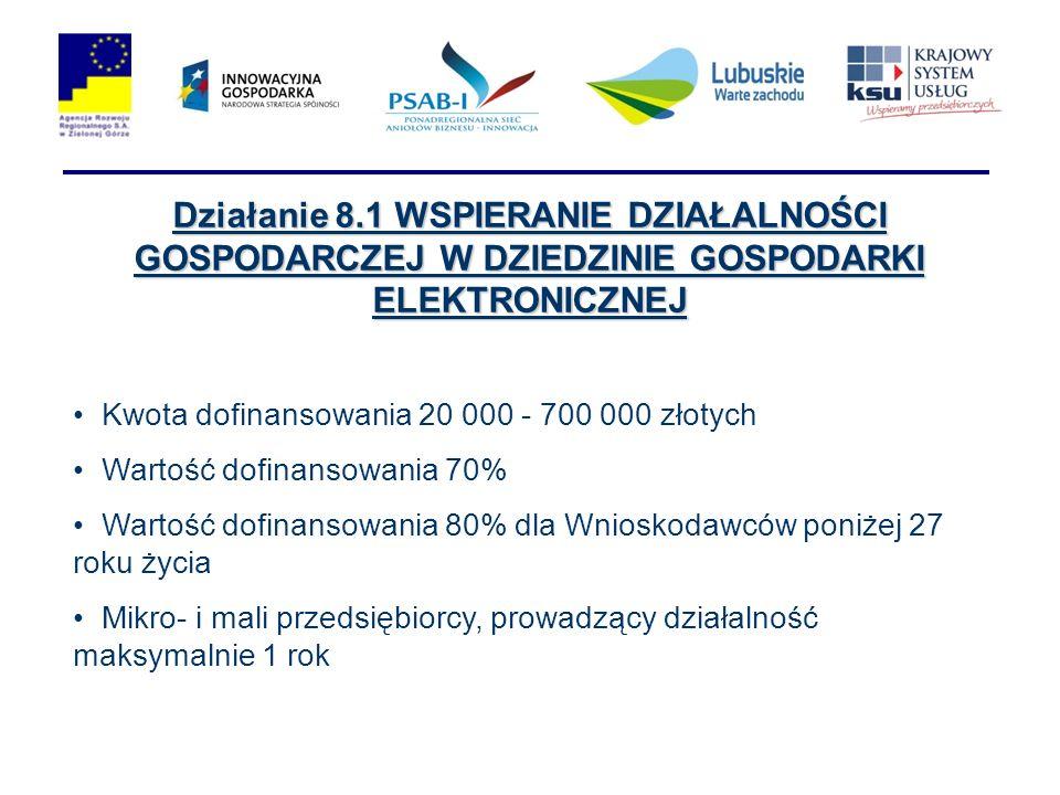 Działanie 8.1 WSPIERANIE DZIAŁALNOŚCI GOSPODARCZEJ W DZIEDZINIE GOSPODARKI ELEKTRONICZNEJ Kwota dofinansowania 20 000 - 700 000 złotych Wartość dofina
